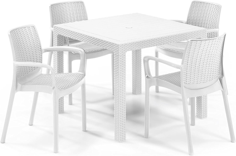 Keter - Set de mobiliario de jardín Quartet/Bali (mesa + 4 sillas), color blanco