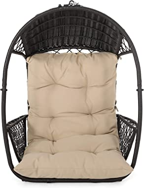 Christopher Knight Home 311857 Becky Wicker Hanging Chair with Cushion (Stand Not Included), Brown, Tan