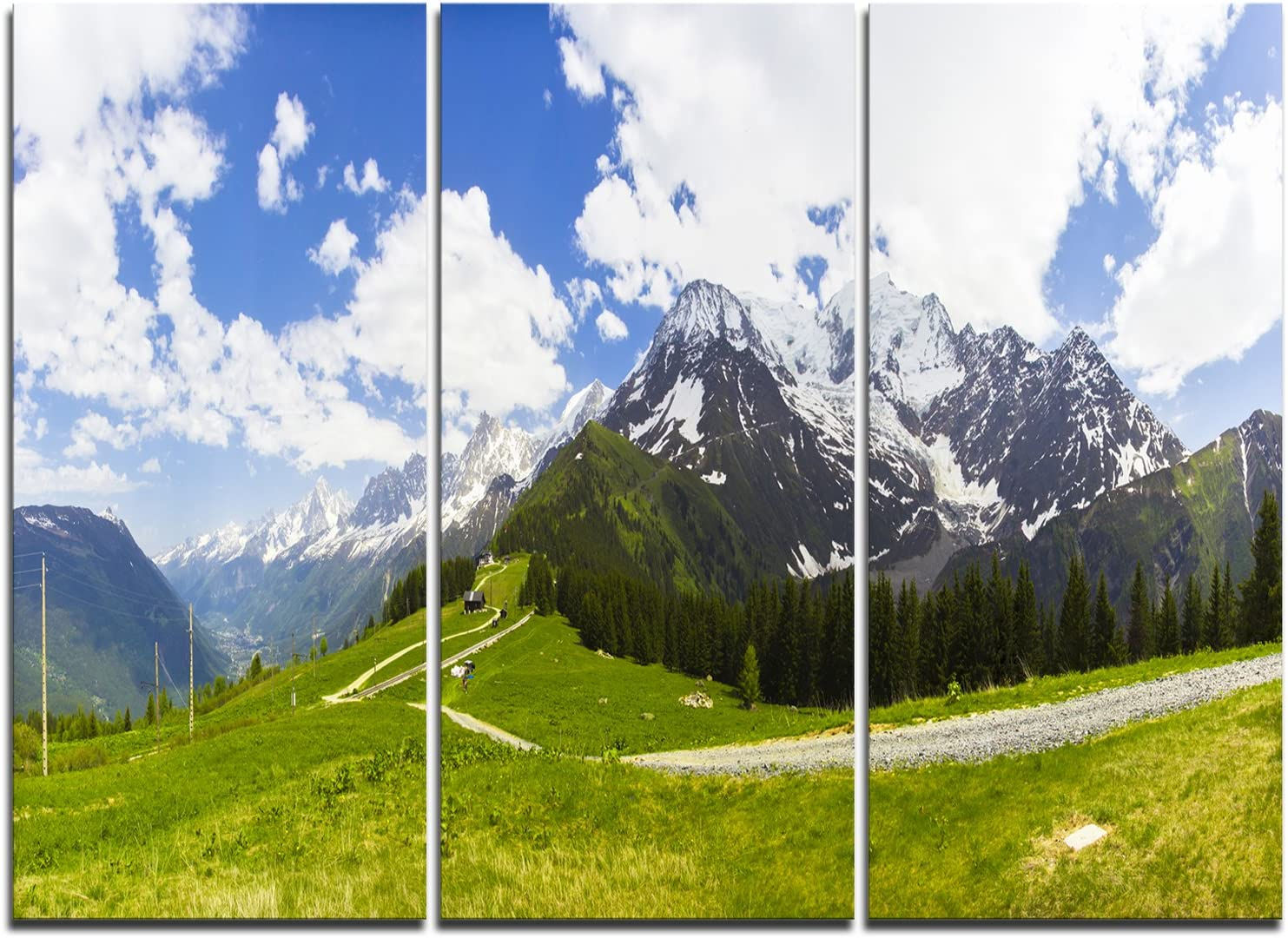 Designart Valley In French Alps Panorama Landscape Artwork Canvas 60x28 5 Piece 60x28 5 Equal Panels Blue Posters Prints