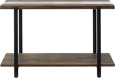 """Standard Living Dumont Distressed Glass Sofa Table, 48.0""""W x 19.0""""D x 30.0""""H, Brown"""
