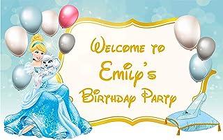 Cinderella Birthday Banner Personalized Party Backdrop Decoration ikban19