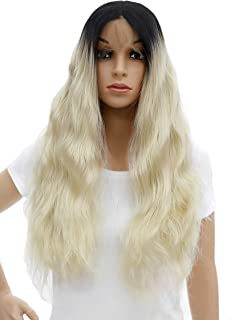 SWACC Long Curly Wavy Black Root Ombre Platinum Blonde Lace Front Wigs for Women Middle Part Natural Curls Heat Resistant Synthetic Hair Replacement Wig