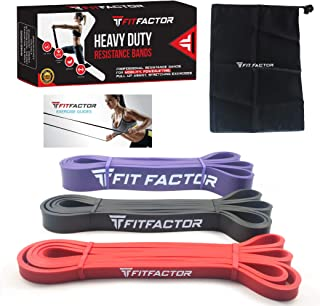 Pull Up Bands - Resistance Workout Bands for Pull Up Assistance, Fitness, Stretching, Barbell Assist Exercise - 3 Pack Set Latex Loop Bands with Carry Bag By FitFactor