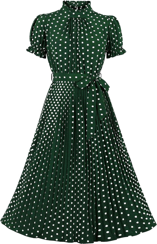 Wellwits Women's Polka Dots Pleated Midi Vintage Cocktail Formal Dress