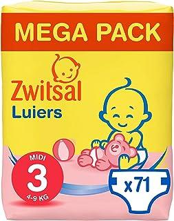 Zwitsal Luiers maat 3 (4-9 kg), langdurig droog met urine indicator, 71 luiers - Voordeelverpakking