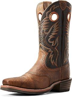 حذاء برقبة غربي من Ariat Heritage Roughstock - حذاء عمل جلد بمقدمة مربعة للرجال, (بني), 44.5 EU Wide