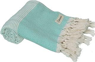 Bersuse 100% Cotton Hierapolis Handloom Turkish Towel-37X70 Inches, Mint Green
