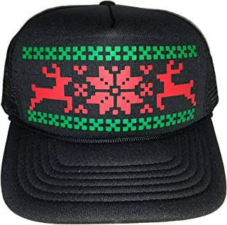 4cd1d8c4d46 Reindeer Snowflake Mesh Trucker Hat Cap Ugly Sweater Christmas X Mas
