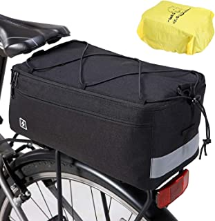 Beautylife168 Insulated Trunk Cooler Bag Bike Cooler Bag, Bicycle Rear Rack Trunk Bag for Warm or Cold Items 8L Capacity with Rain Cover