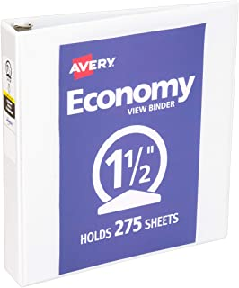 "Avery Economy View 3 Ring Binder, 1.5"" Round Rings, 1 White Binder (05770)"