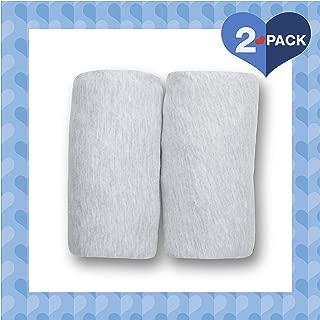 Delta Children Fitted Bassinet Sheet Set – 2 Pack | Solid Color | 100% Jersey Cotton, Heather Grey
