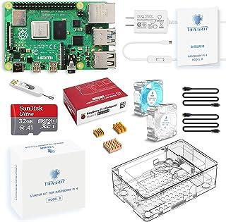 TRASKIT Raspberry Pi 4 Model B Starter Kit/ラズベリーパイ4B(4GB RAM)技適マーク付/MicroSDHCカード32GB NOOBSプリインストール/簡単に取り付けるケース/5.1V/3A Typ...