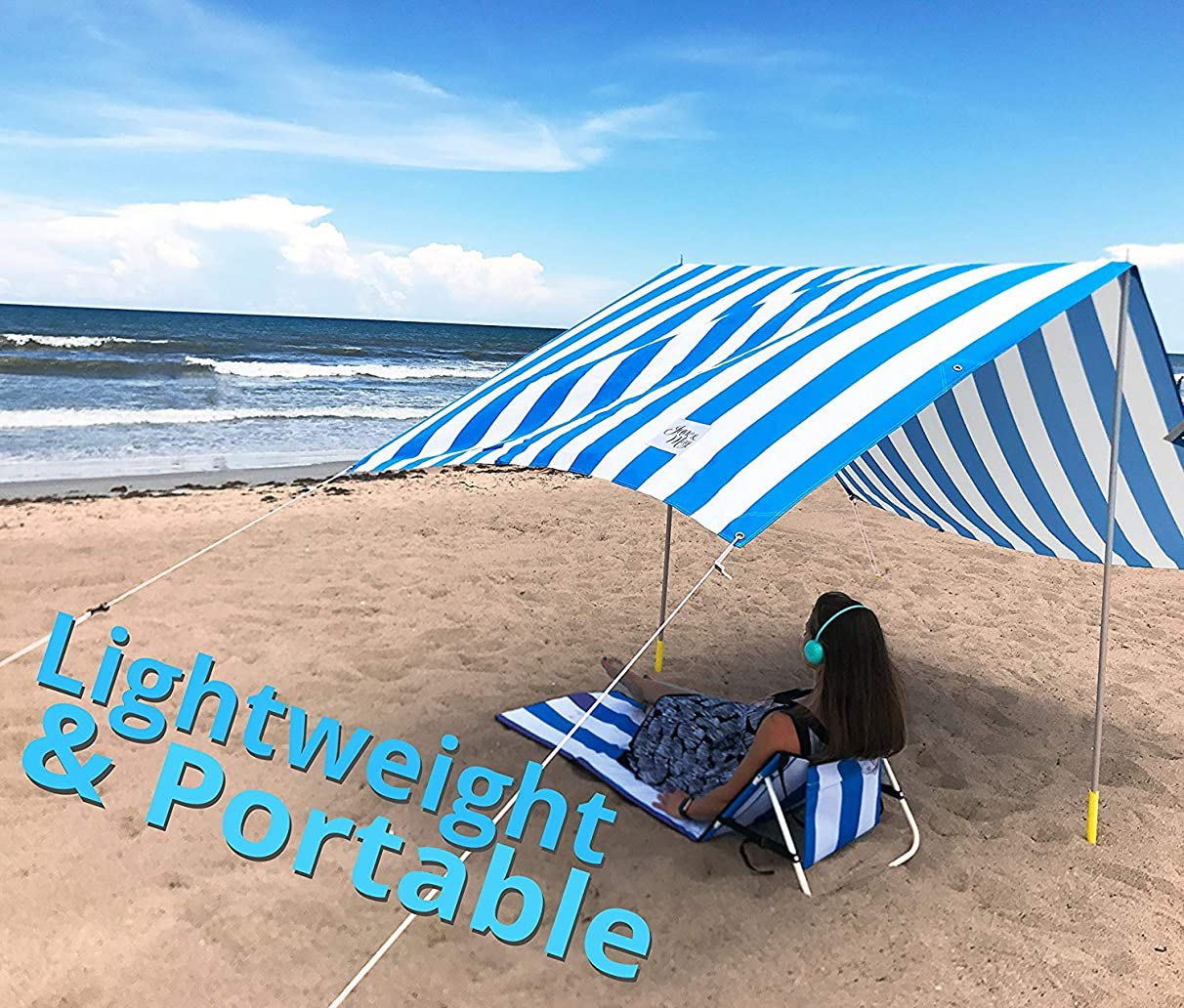 June & May Beach Canopy – Large, Lightweight, Weatherproof, Beach Tent with More UV Protection Than a Beach Umbrella 10'x6'