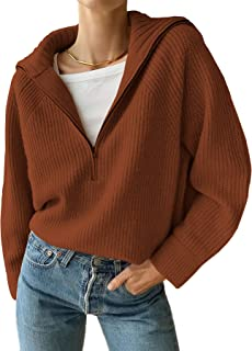 BTFBM Women's Casual Long Sleeve Half Zip Pullover Sweaters Solid V Neck Collar Ribbed Knitted Loose Slouchy Jumper Tops