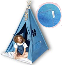 G-Eco Play Teepee Tent for Kids, Blue Denim, Children Toy Playhouse with Canvas Carry Bag, Gift for Girls and Boys Indoor ...