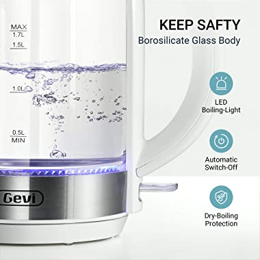 Electric Kettle, Gevi 1.7L Glass Tea Kettle - Water Boiler with LED Light, Glass Kettle Electric (BPA Free) with Fast Boiling