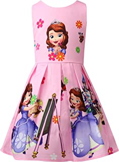 Toddler Girls Sleeveless Princess Dress Casual Party Dresses(18M-7Y)