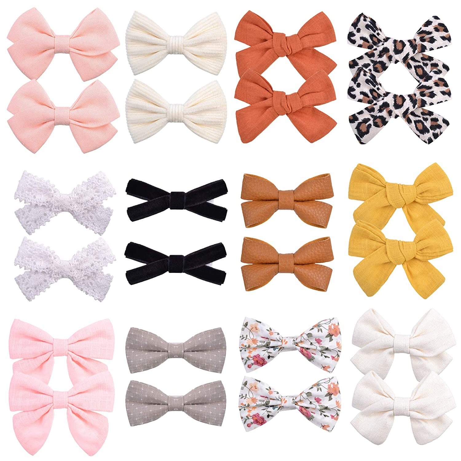 24PCS store Baby Girl Hair Bows Barre Clips Alligator mart Fully Lined