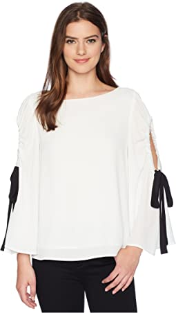 Bell Sleeve Tie Cold Shoulder Blouse