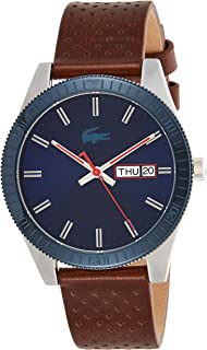 Lacoste Mens Quartz Watch, Analog Display and Leather Strap 2010981