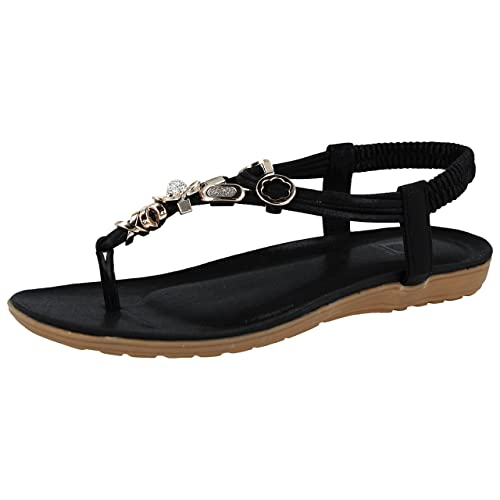 22ffe8fd3d87 Shoes By Emma Ladies Emma Faux Leather Metallic Toe Post Sling Back Low  Wedge Flat Summer