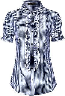 Women's Button Down Plaid Shirt Traditional Bavarian Oktoberfest Shirt for Lederhosen