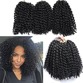 6 Small Bundles Marlybob Crochet Hair Afro Kinky Curly Hair Crochet Braids Curly Crochet Braiding Hair Synthetic Hair Extension (1B#)