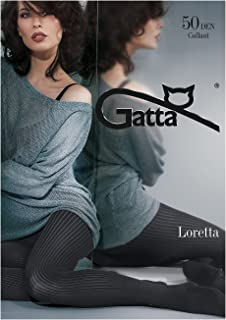 Gatta  Loretta 109-50den - blickdicht gestreift gemusterte schwarze Strumpfhose im Streifen Stripes Design