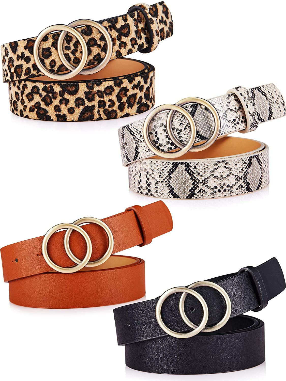 4 Pieces Women Faux Leather Waist Belt for Ladies Jeans Pants with Double O-Ring Buckle