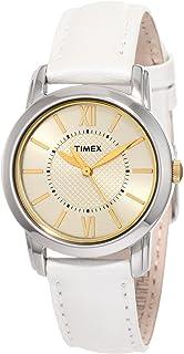 ساعة رسمية بتصميم انالوج وسوار جلدي للنساء من تايمكس -T2N682
