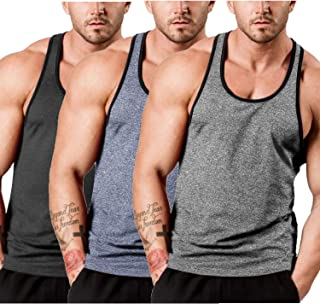 Men's 3 Pack Gym Tank Tops Y-Back Workout Muscle Tee Sleeveless Fitness Bodybuilding T Shirts