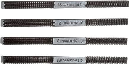 Nicholson 4 Piece Thread Repair File Set, Single Cut, Square Shape, Fine, 8-3/8