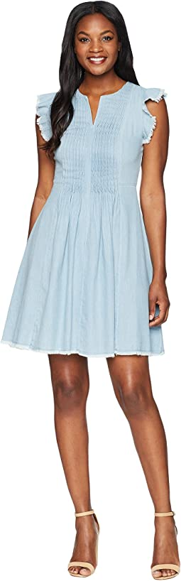 Flutter Sleeve Denim Pintuck Dress