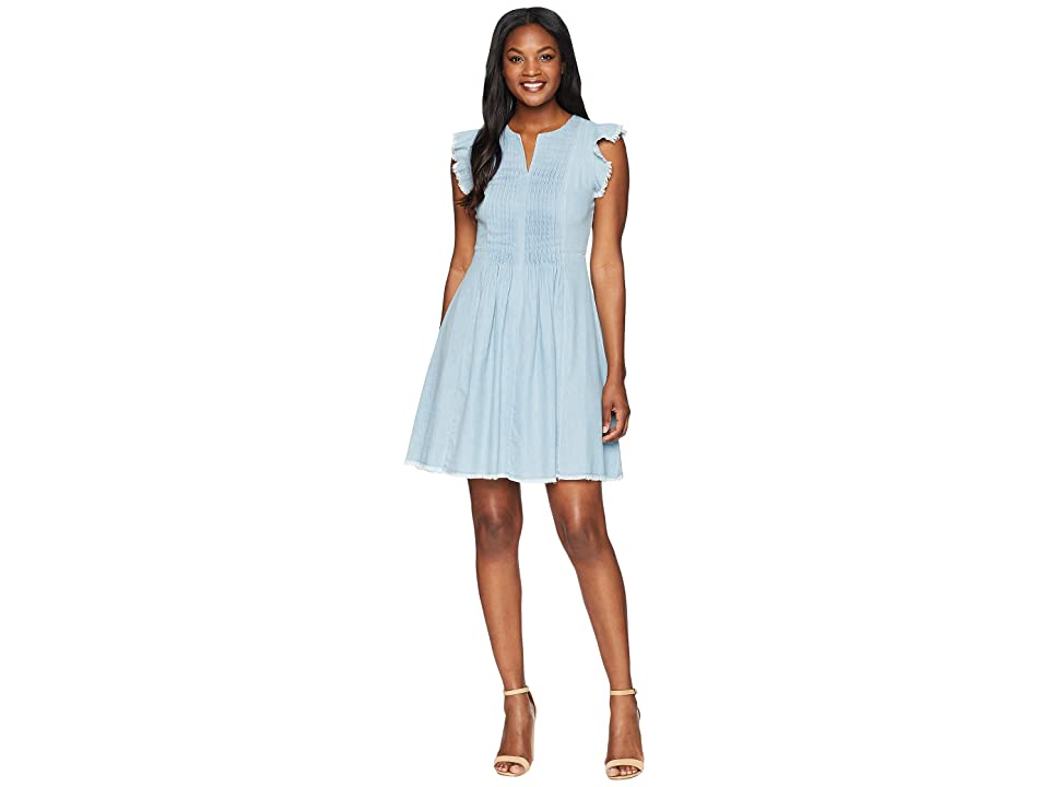 CeCe Flutter Sleeve Denim Pintuck Dress (Ocean Drift) Women
