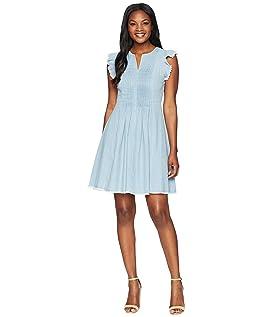 Flutter Sleeve Denim Pintuck Dress