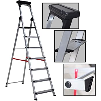 Escalera Ancha de Aluminio ELITE PLUS (7 Peldanos). BTF-TJB407: Amazon.es: Bricolaje y herramientas