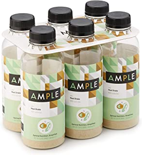 Ample - Meal Replacement Shake in a Bottle, (Pack of 6) Meals, Regular 400 Calories, Made with Natural Real Food Ingredients - Vanilla