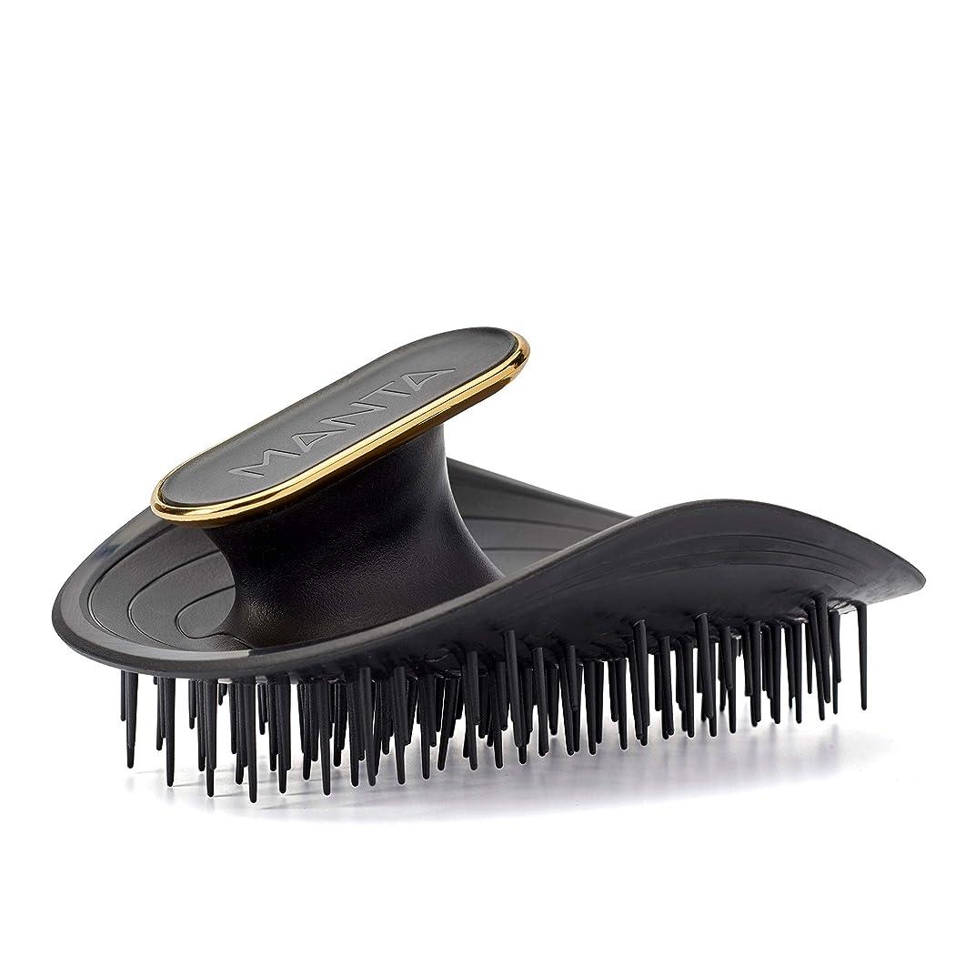 高揚したパラメータ会話Manta Hair(マンタヘア) ヘアケア革命 【英国で数々の受賞歴】 髪と頭皮にやさしいヘアブラシ くし サラサラ 静電気防止 (ブラック)