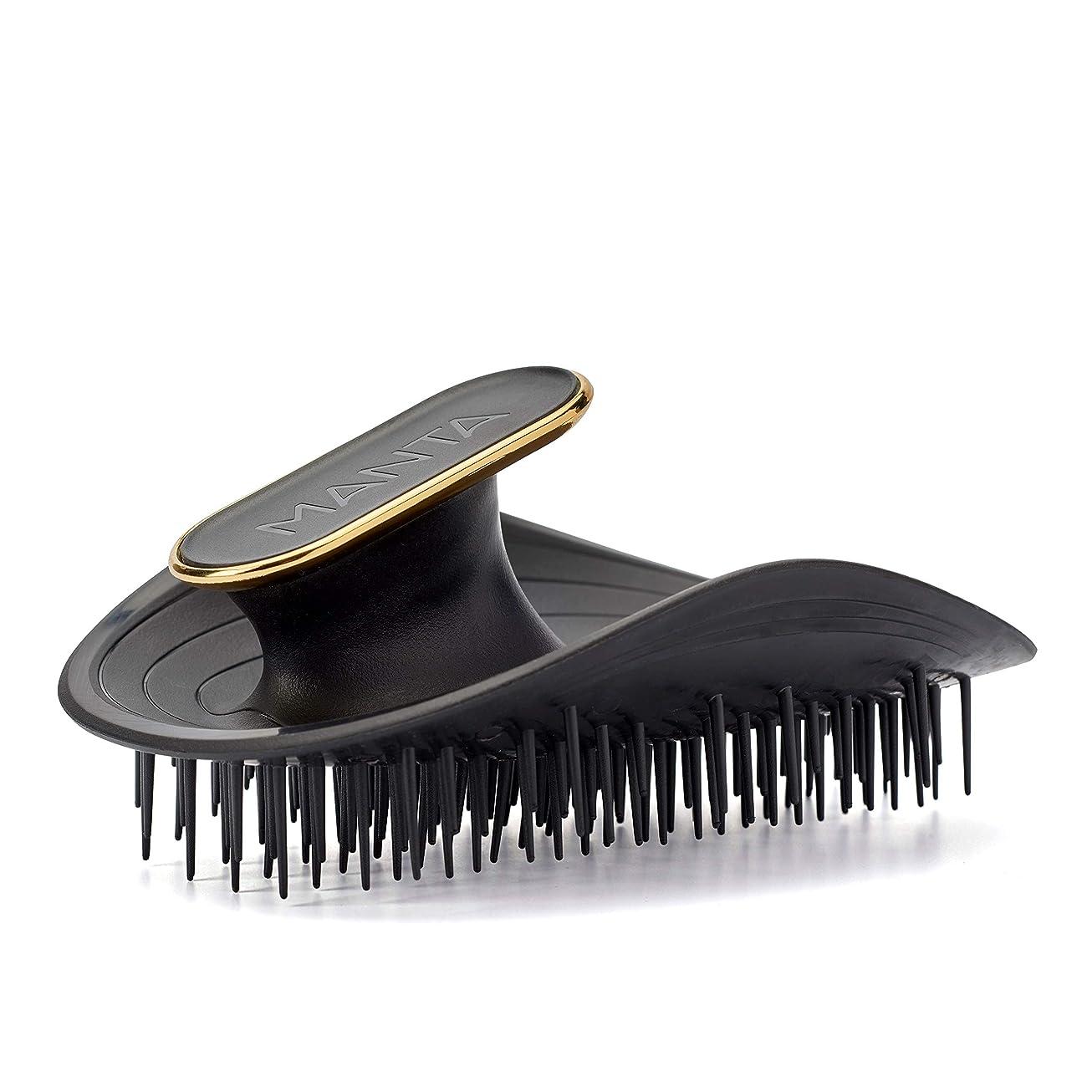 人形ボウリングからかうManta Hair(マンタヘア) ヘアケア革命 【英国で数々の受賞歴】 髪と頭皮にやさしいヘアブラシ くし サラサラ 静電気防止 (ブラック)