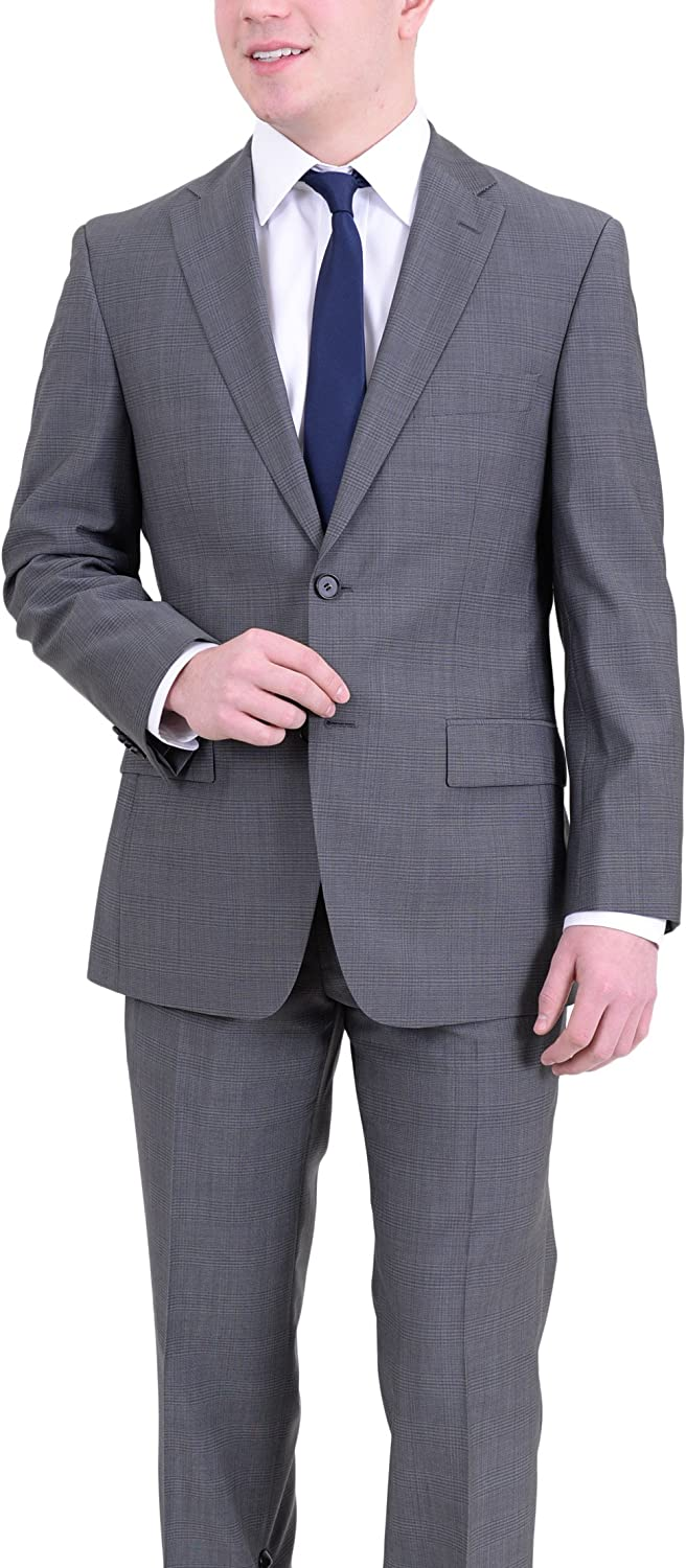 Hugo Boss Paolini1/Movio1 Blue Gray Striped Two Button Wool Suit