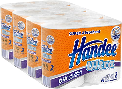 Handee Double Length Ultra Paper Towel (120 Sheets per roll), White 8 count