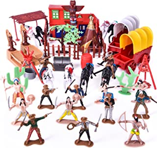 Wild West Cowboys Indians Toy Plastic Figures, Toy Soldiers Native American Action Figurines, Boy's War Game Educational Toys - 60 PCs