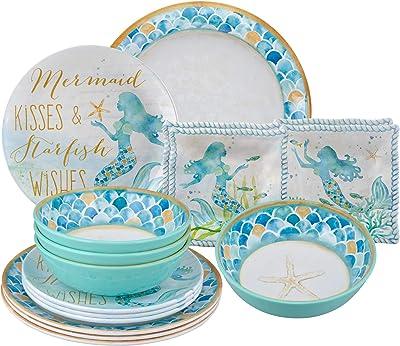 Gourmet Art 16-Piece Mermaid Melamine Dinnerware Set