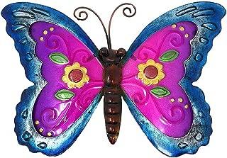 Metal Wall Art Decor Nature Inspired Flower Garden Bug Sculptures for Indoor Outdoor (Butterfly)