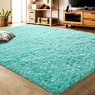 LOCHAS Luxury Velvet Shag Area Rug Mordern Indoor Plush Fluffy Rugs, Extra Soft and Comfy Carpet, Geometric Moroccan Rugs for Bedroom Living Room Girls Kids Nursery (5x8 Feet, Teal/White, HS7)
