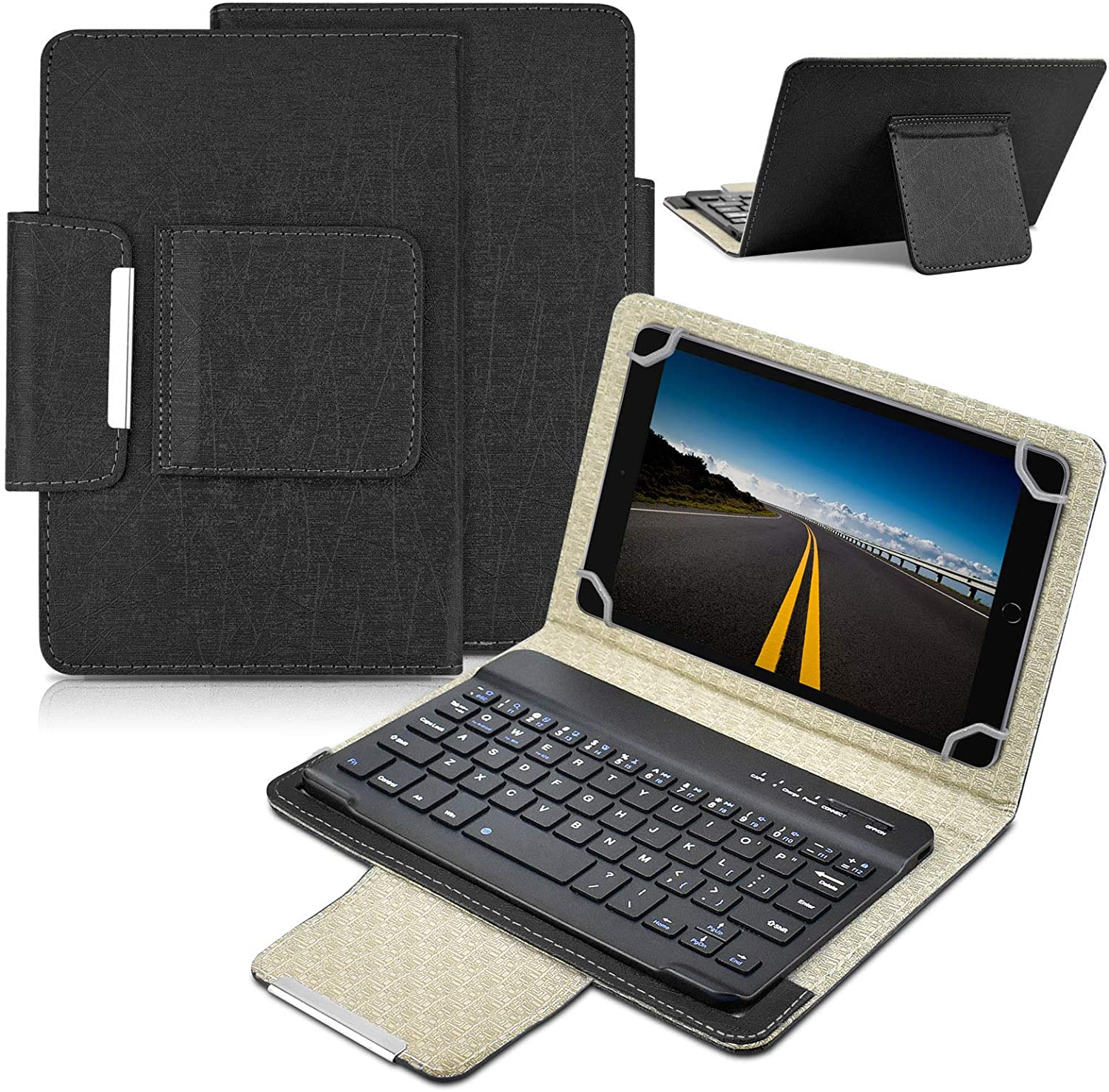 Universal 7 inch Tablet Keyboard Case, 【DETUOSI】 Wireless Bluetooth Removable Keyboard + Folio PU Leather Cover + Stand, Travel Portable Leather Sleeve for iOS/Android/Windows 7.0'' Tablet #Black