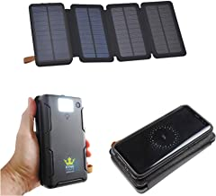 Kyng Solar Charger Solar Power Bank Qi Wireless 20000mAh Portable Phone Charger Solar Panel, Qi Wireless + Dual USB Ports, External Battery Pack with LED Flashlight