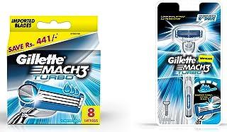 Gillette Mach 3 Turbo Manual Shaving Razor Blades - 8s Pack (Cartridge) & Mach 3 Turbo Manual Shaving Razor Combo