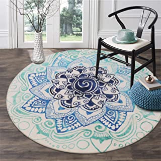 LEEVAN Faux Wool Area Rug 3ft Round Traditional Throw Runner Rug Non-Slip Backing Soft Wool Floor Carpet for Sofa Living Room, Bedroom Modern Accent Home Decor,Mandala Blue