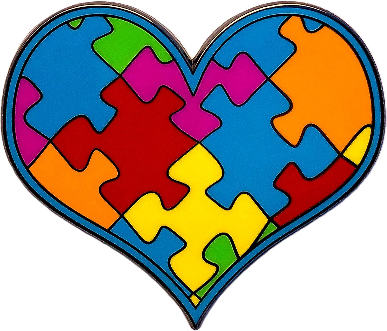 Autism Awareness Pin. Puzzle Pieces Enamel Lapel Heart Pin. (Regular) 1-1/2